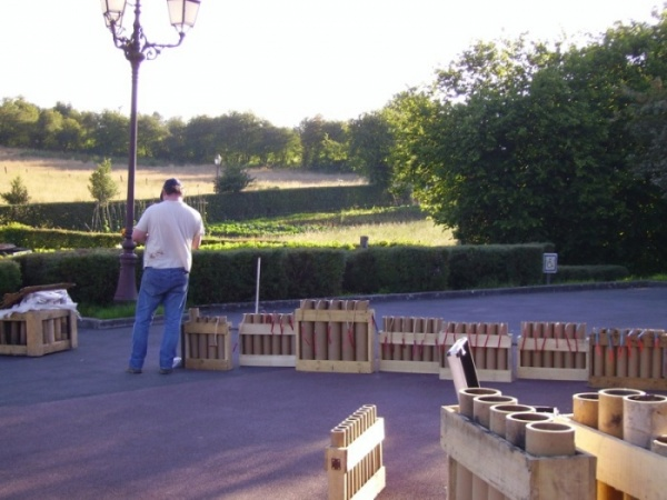 installation feu d'artifice, mortier, batterie